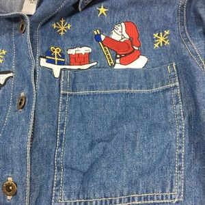 Nutcracker Tops - Nut Cracker Christmas Santa Reindeer Denim Shirt